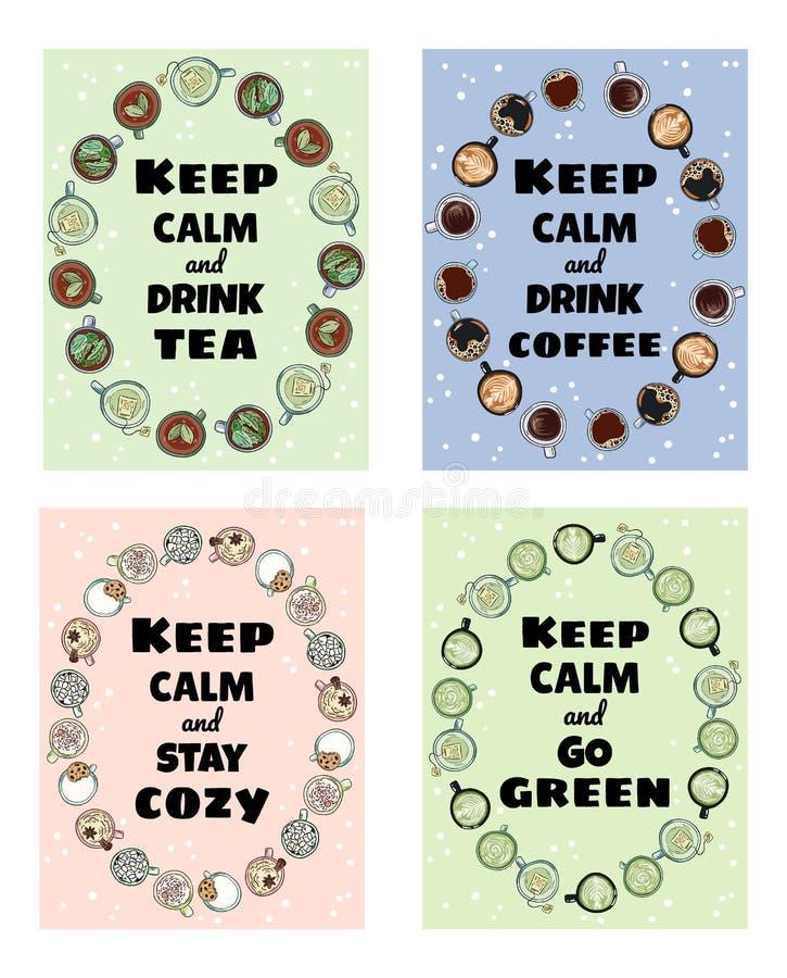 Halten Sie ruhige leckere Schalen und Getränksatz nette Plakate Tassen Tee und Kaffeesammlung Flieger Hand gezeichnete Karikatura stock abbildung