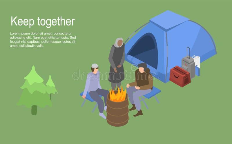 Halten Sie zusammen obdachlosen Familienkonzepthintergrund, isometrische Art stock abbildung