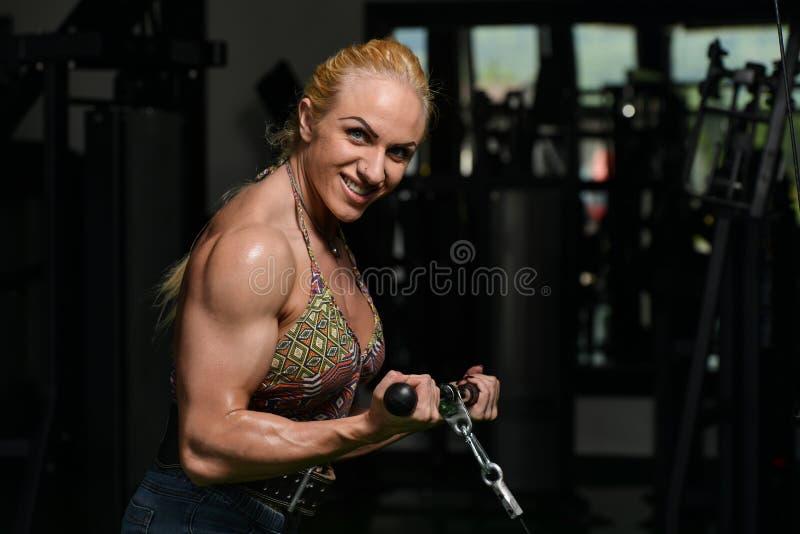 Halterofilista fêmea que faz o exercício pesado para o bíceps foto de stock royalty free