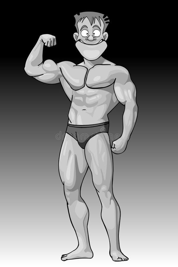 Halterofilista forte do indivíduo engraçado dos desenhos animados ilustração stock