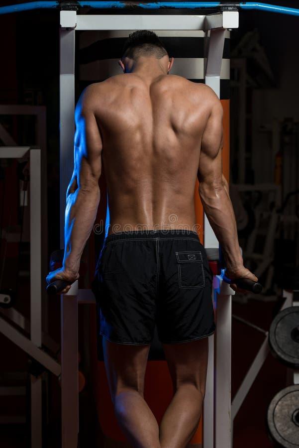 Halterofilista masculino novo que faz o exercício pesado para o tríceps imagens de stock