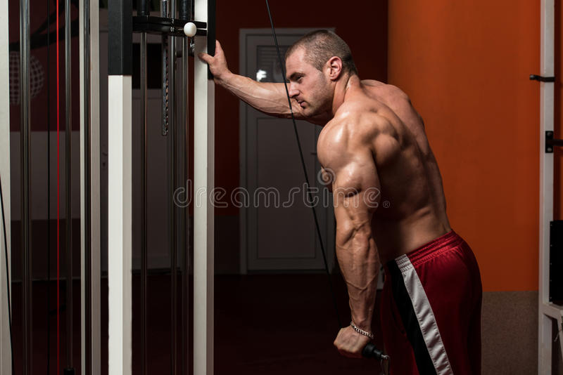 Halterofilista masculino que faz o exercício pesado para o tríceps foto de stock