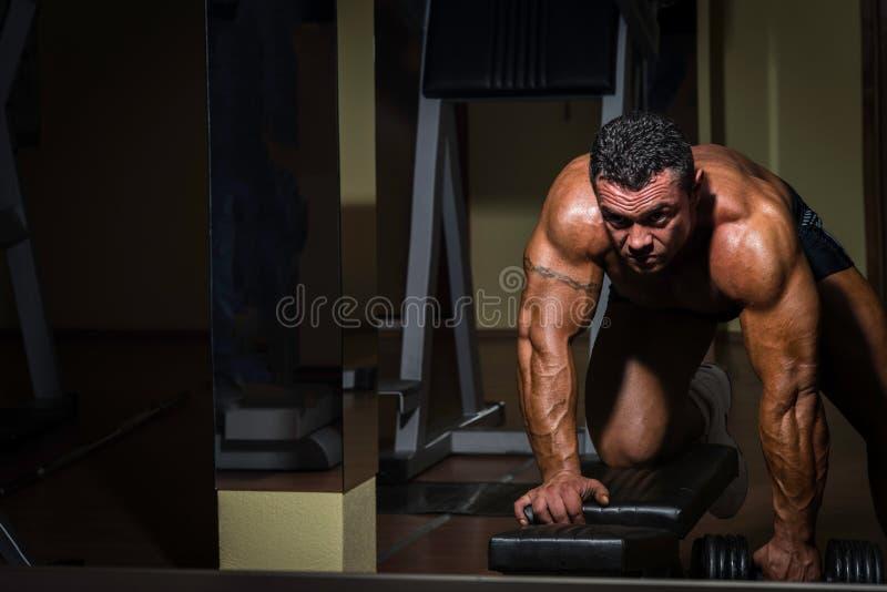 Halterofilista masculino que faz o exercício pesado para a parte traseira foto de stock royalty free