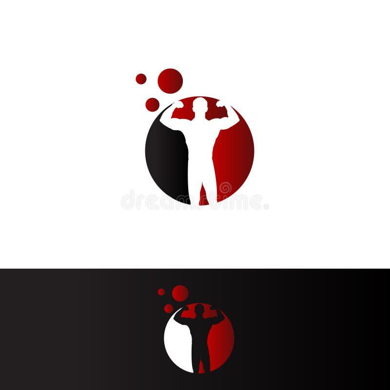 Halterofilista no espaço negativo Logo Template do cirle vermelho ilustração stock