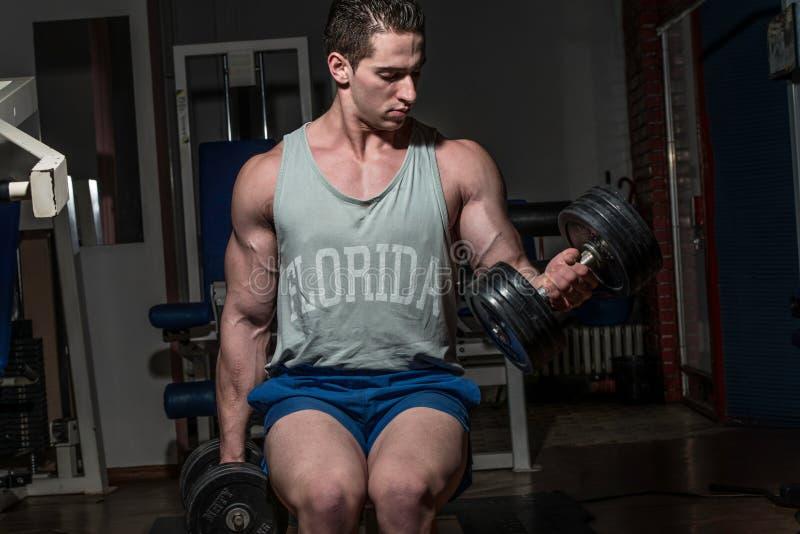 Halterofilista novo que faz o exercício pesado para o bíceps com du foto de stock