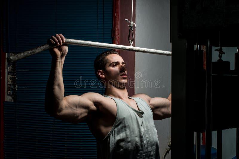 Halterofilista novo que faz o exercício pesado para a parte traseira no gym imagens de stock royalty free