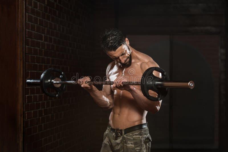 Halterofilista que exercita o bíceps com Barbell imagem de stock
