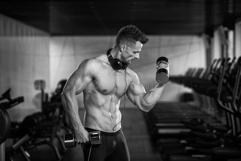 Halterofilista que exercita o bíceps com pesos fotografia de stock royalty free