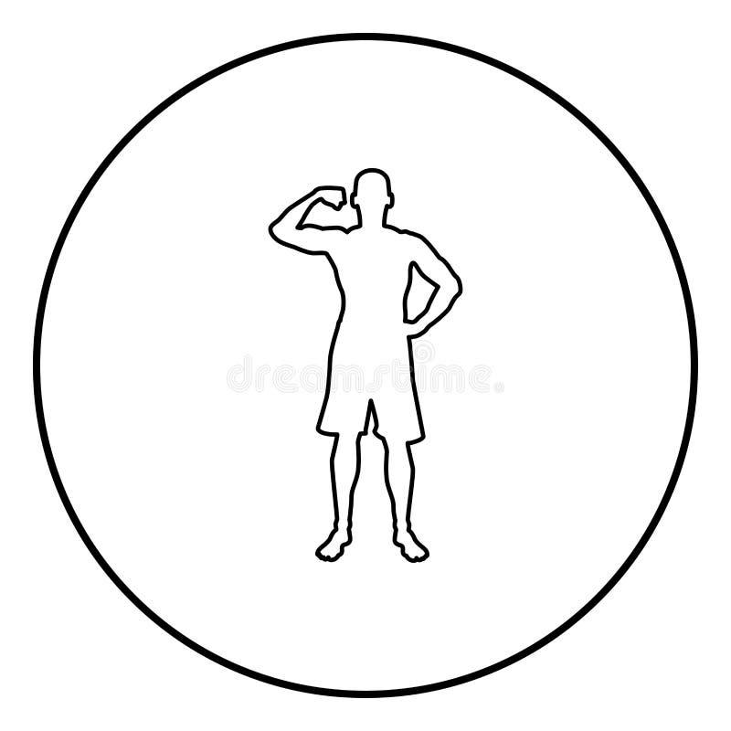 Halterofilista que mostra a silhueta do conceito do esporte do halterofilismo dos músculos do bíceps o ícone da vista dianteira i ilustração do vetor