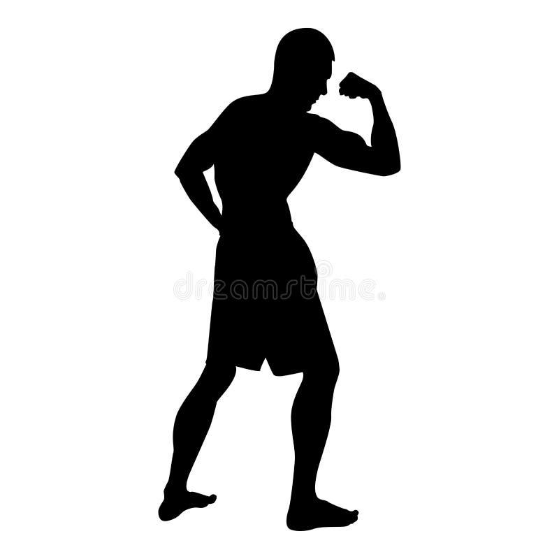 Halterofilista que mostra a silhueta do conceito do esporte do halterofilismo dos músculos do bíceps o ícone da vista lateral ilu ilustração do vetor