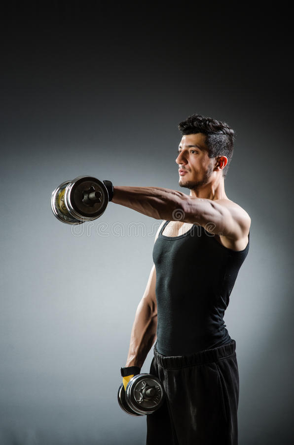 Halterofilista rasgado muscular imagens de stock