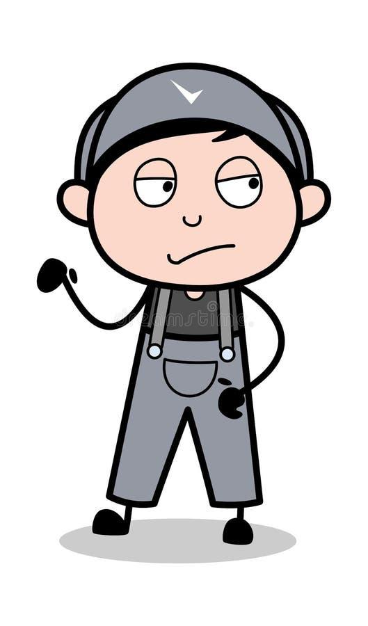 Haltung - Retro- Schlosser-Cartoon Worker Vector-Illustration stock abbildung