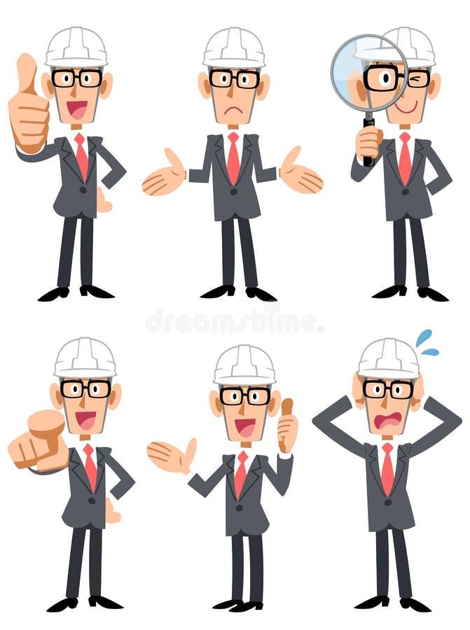 6 Haltungen und Gesten eines Geschäftsmannes, der einen Sturzhelm trägt und Gläser trägt lizenzfreie abbildung