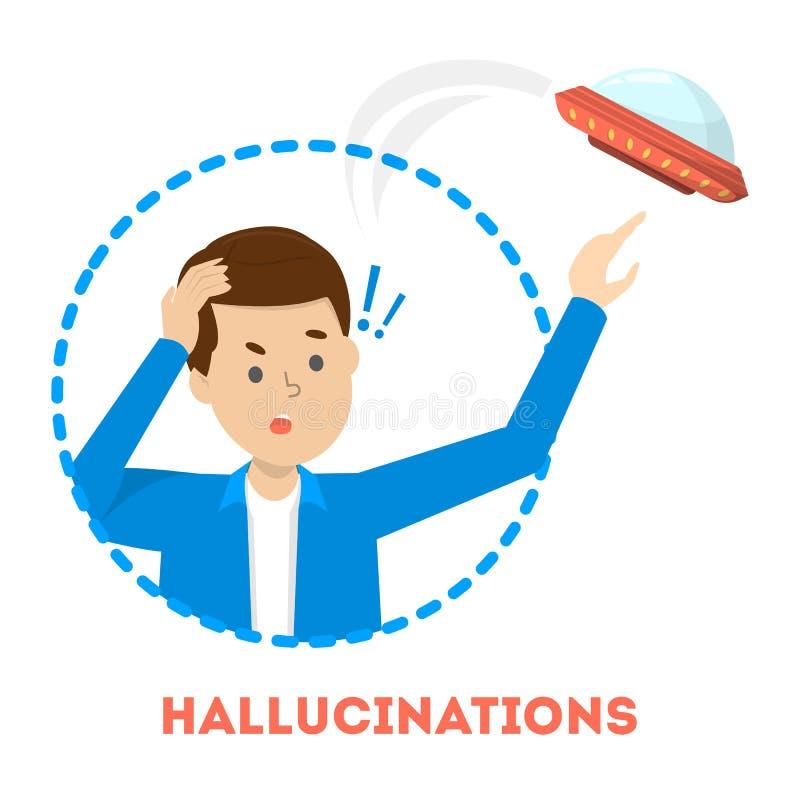 Halucynacji poj?cie Mężczyzna widzii UFO Schizofrenia objaw royalty ilustracja