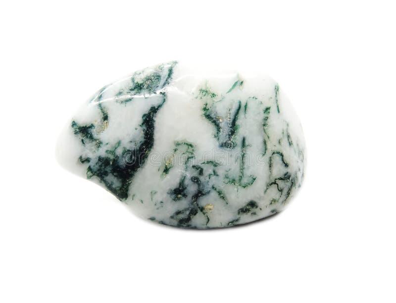 Halvädel mineralisk geologisk kristall för mossaagat arkivbild