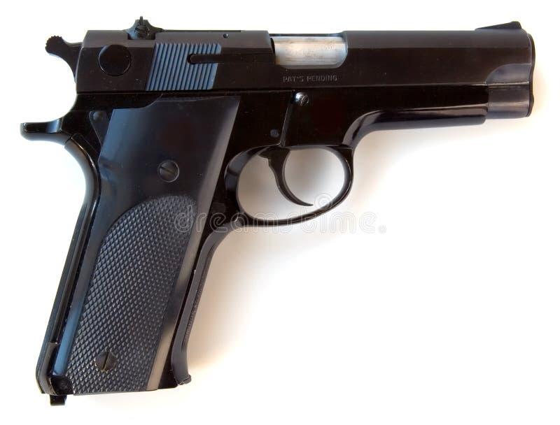 halv 9mm automatisk handeldvapen arkivfoto