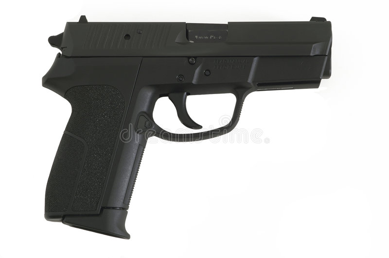 halv 9mm automatisk handeldvapen royaltyfria bilder