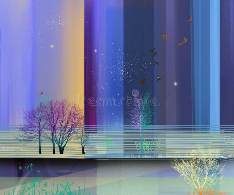 Halv abstrakt bild av bakgrund för landskapmålningar stock illustrationer