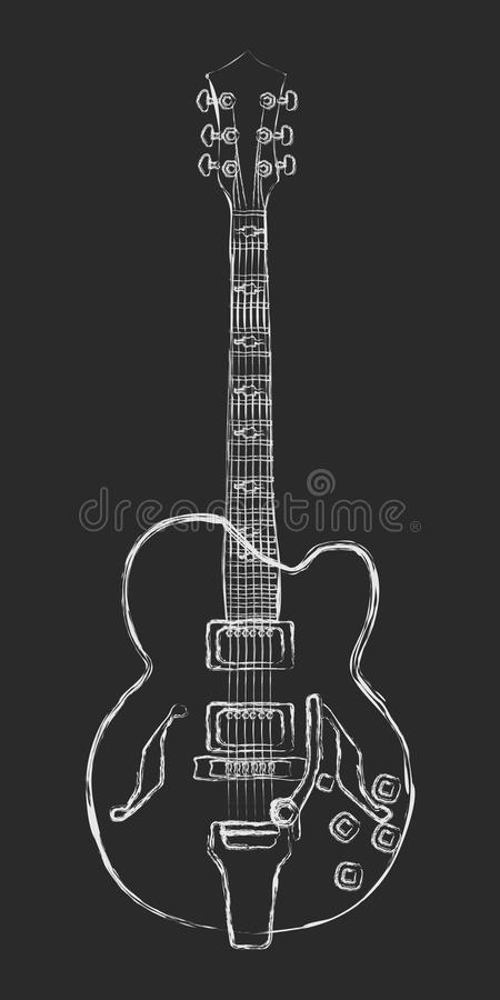 Halv-akustisk gitarrteckning för krita royaltyfri illustrationer