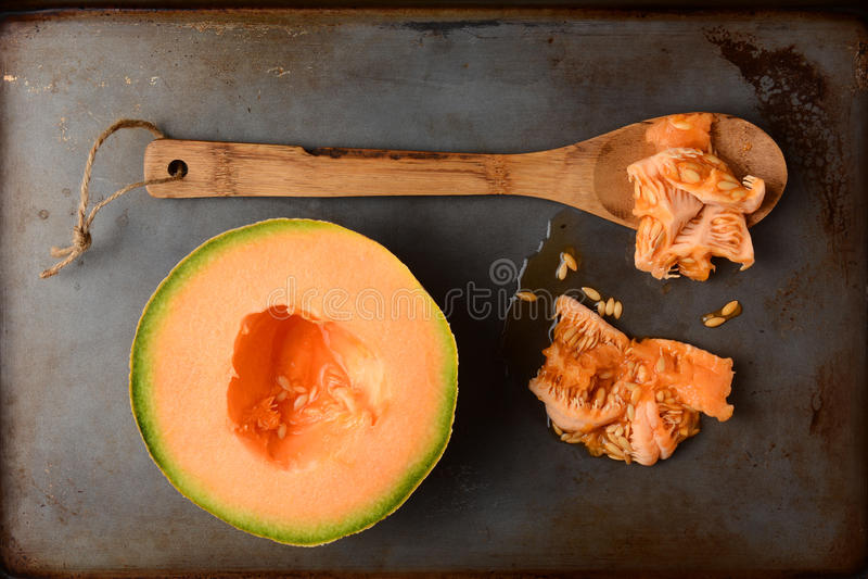 Halv cantaloupmelon och frö arkivfoto
