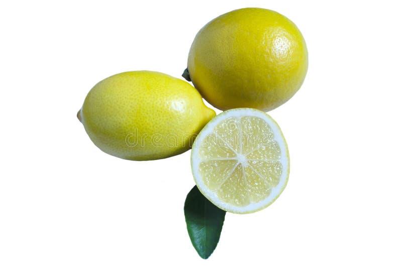 Halv citron för två citroner och grönt blad på vit isolatbakgrund arkivfoto