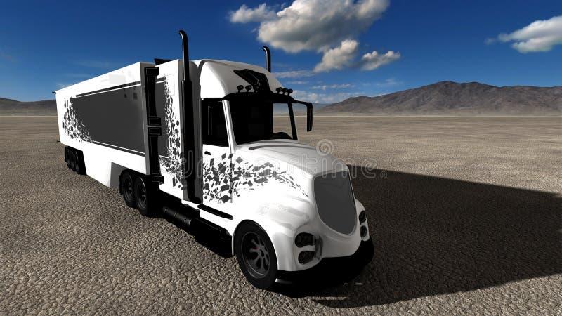 Halv illustration för lastbiltraktorsläp royaltyfri illustrationer