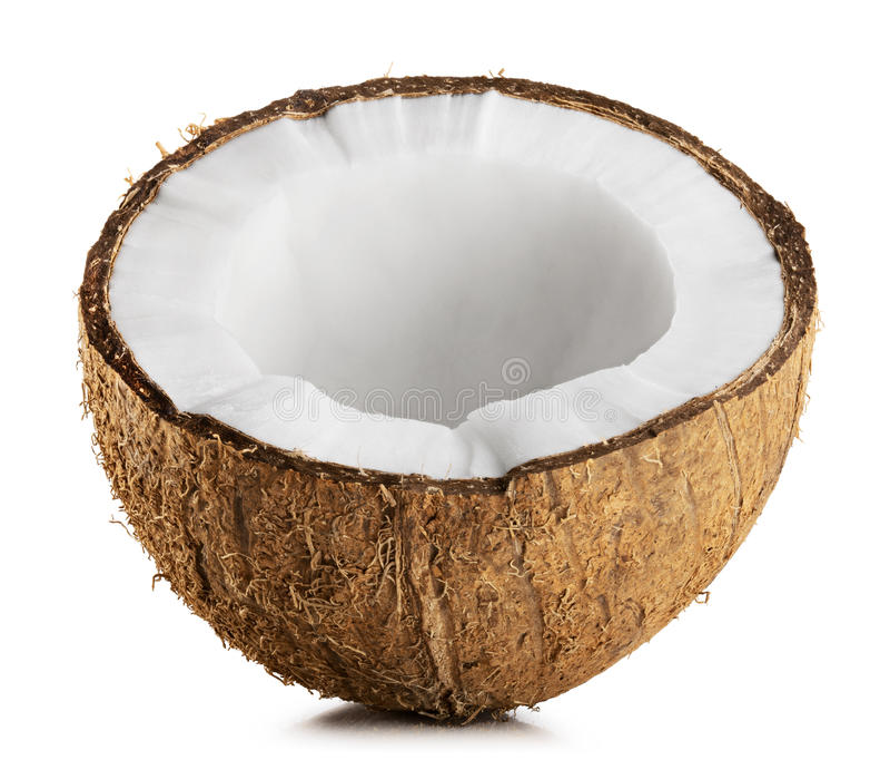 Halv kokosnöt royaltyfri fotografi