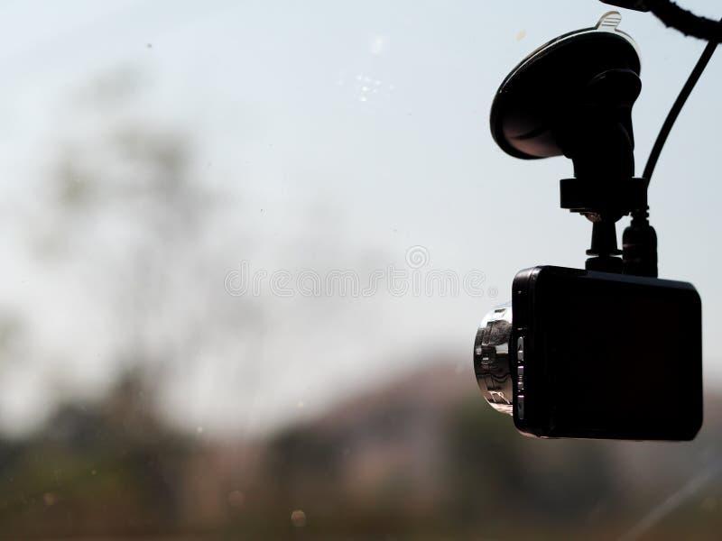 Halv kontursikt av kamera för digital video trafik för bil en rekord- royaltyfri foto