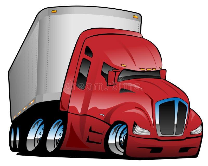 Halv lastbil med illustrationen för släptecknad filmvektor stock illustrationer