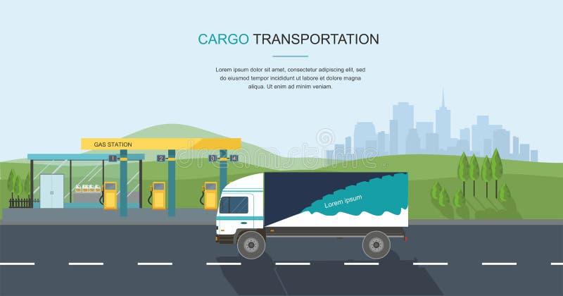 Halv-lastbil på vägen och gasbensinstationen på stadsbakgrund vektor illustrationer