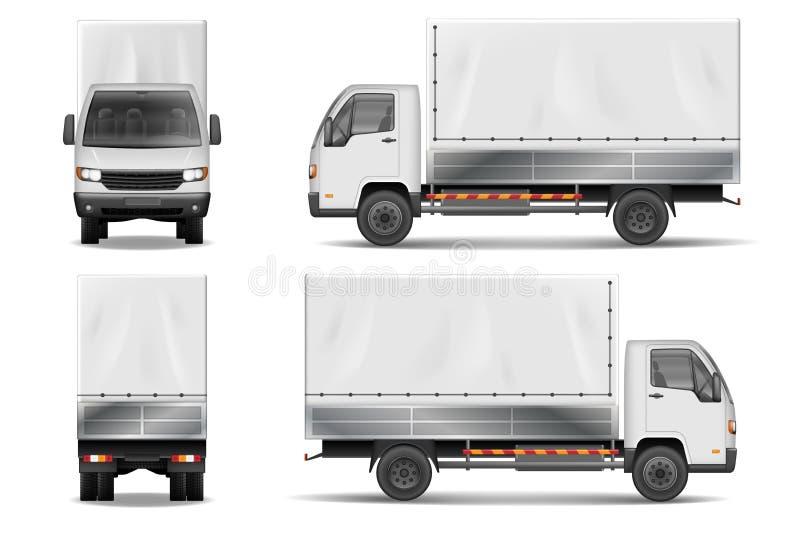 Halv lastbil som isoleras på vit Kommersiell realistisk lastlastbilmodell Mall för vektor för leveranslastbil från sidan, baksida stock illustrationer
