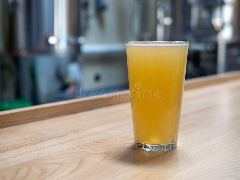 Halv literexponeringsglas av blont öl framme av jäsningbehållare och bryggeriutrustning arkivbilder