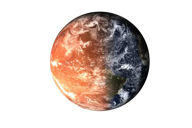Halv planetjord med atmosfär med halvt fördärvar planeten av solsystemet som isoleras på vit bakgrund Död av planeten stock illustrationer
