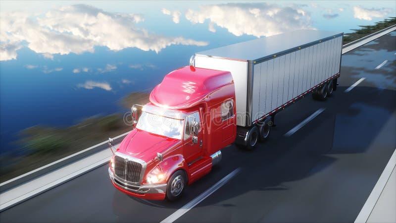 Halv släp, lastbil på vägen, huvudväg Transporter logistikbegrepp framförande 3d royaltyfri illustrationer