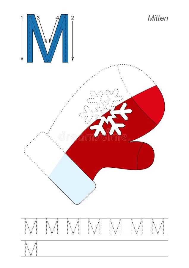 Halv spårlek för bokstav M mitten stock illustrationer
