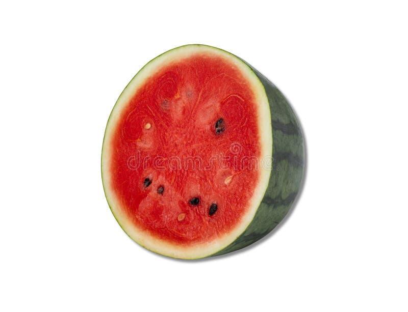 Halv vattenmelon med isolerat fr? royaltyfri bild