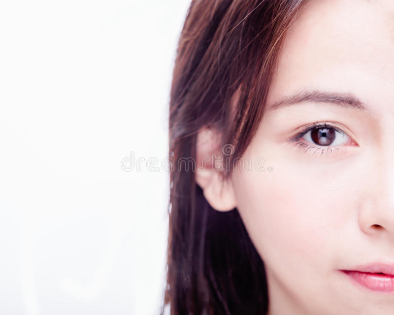 Halva av asiatiska kvinnas framsida fotografering för bildbyråer