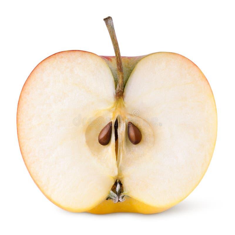 Halva av det röda gula äpplet arkivfoton