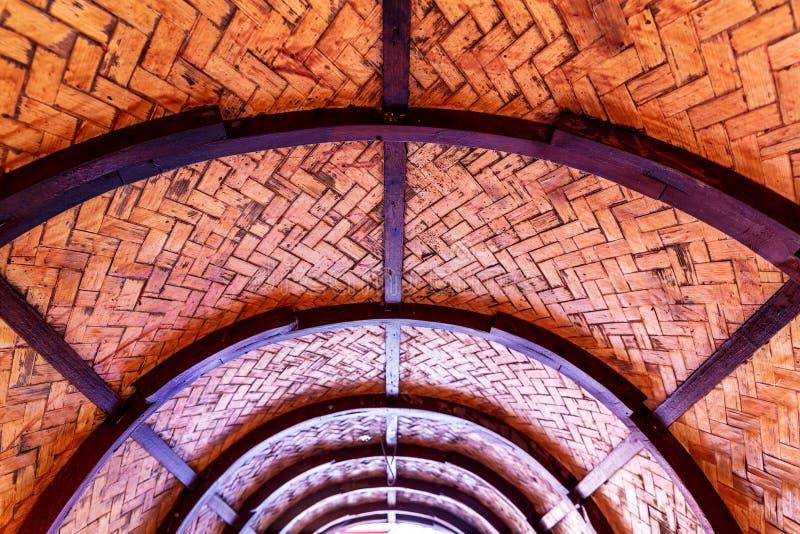 Halva av det wood taket för kupol royaltyfria foton
