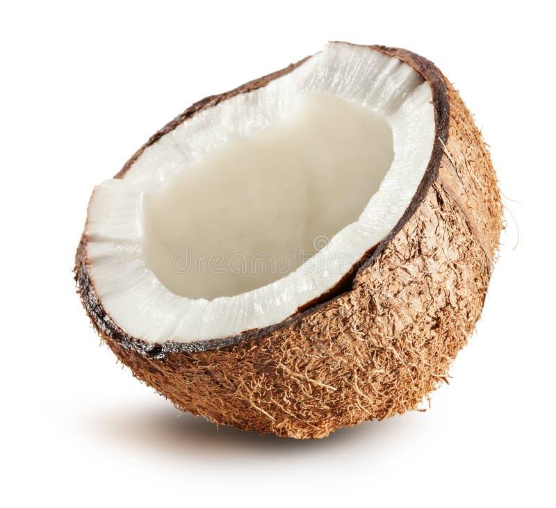 Halva av kokosnöten som isoleras på vit bakgrund royaltyfri fotografi