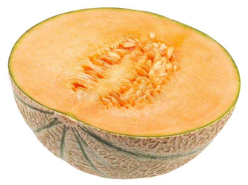 Halva av melon som isoleras p? en vit bakgrund fotografering för bildbyråer