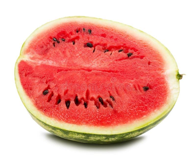 Halva av vattenmelon som isoleras på den vita bakgrunden royaltyfri foto