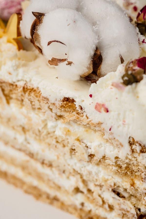 Halva en kaka Närbild av en klippt kaka med synlig lager och fyllning onditer rymmer kakan i hans händer arkivbild