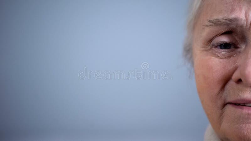 Halva-framsida av deprimerad skriande kvinnlig grå bakgrund, gamlingsorgsenhet, problem fotografering för bildbyråer