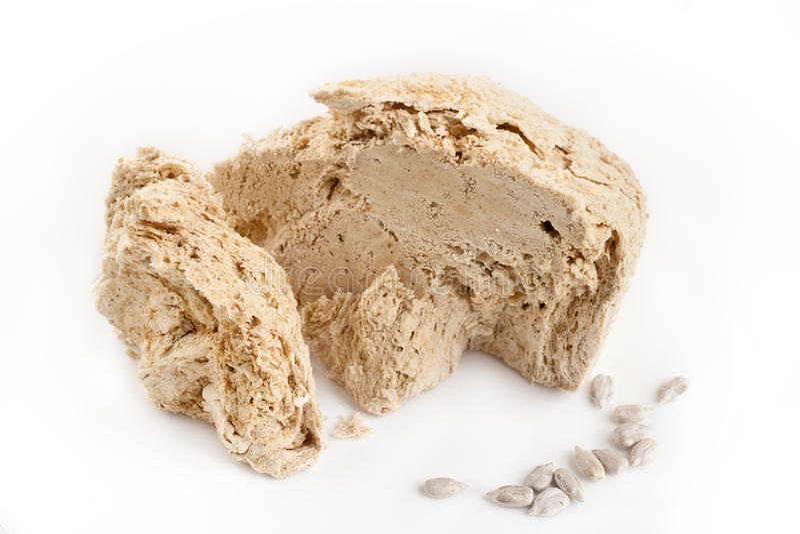 Halva, halavah. Paste of nuts, sugar and oil stock images