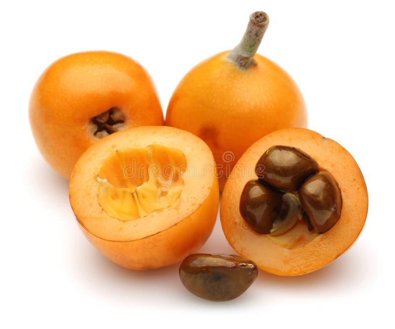 Halva och hela mogna loquatfrukter som isoleras p? vit royaltyfria foton