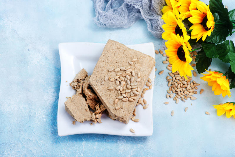 Halva. On plate and on a table royalty free stock photos