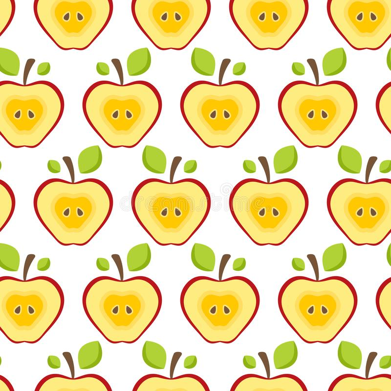 Halva röda äpplen för sömlös modell Fruktbakgrund för tryck stock illustrationer