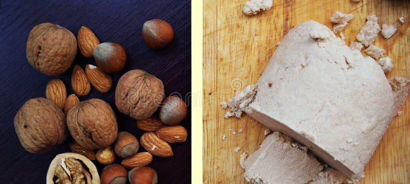 Halva und Nüsse auf Tabelle stockbilder