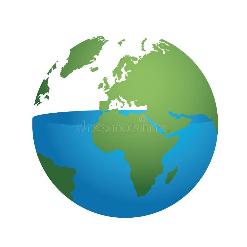 Halvan av vattnet på jord används upp vektor illustrationer